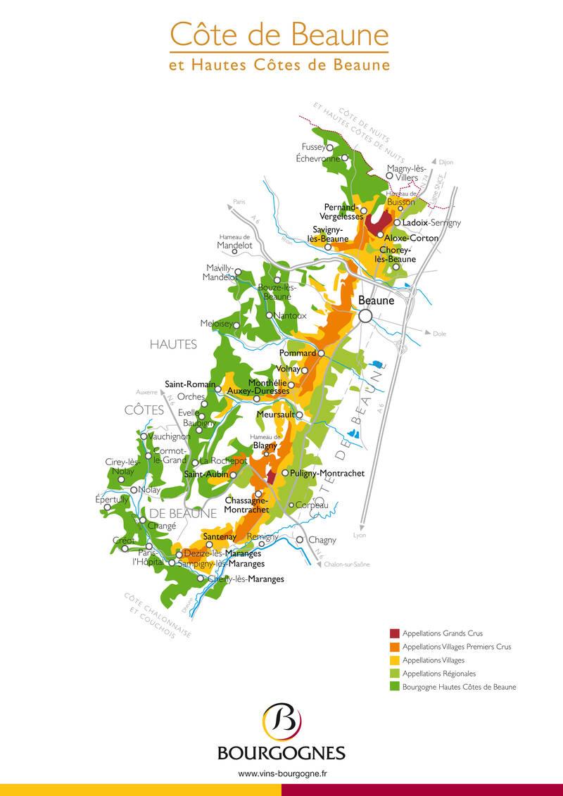 Os vinhedos da Borgonha mapa - Côte de Beaune