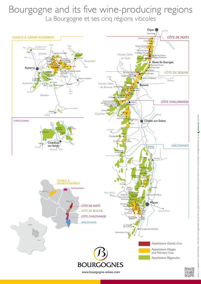 Os vinhedos da Borgonha mapa