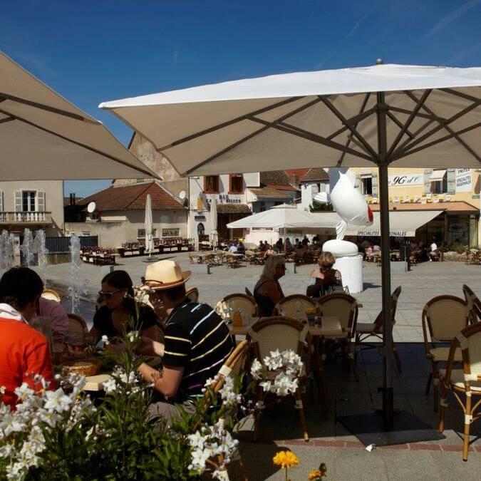 No terraço em Chagny